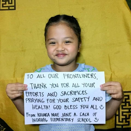 Elementary students in CdeO pen letters for front liners