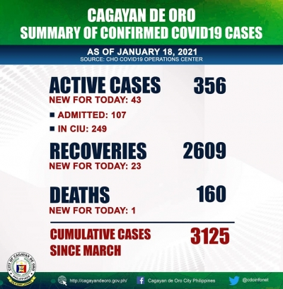 Cagayan de Oro logs over the weekend (Saturday and Sunday) January 16-17, 2021.